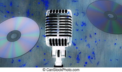 CD Music Microphone and Notes Looping Animated Background