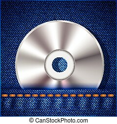 CD on a blue jeans background