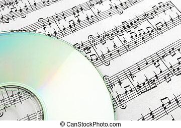 CD on sheet music. Digital music concept.