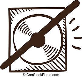 CD or DVD crossed symbol.