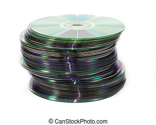 Isolated pile of cds and dvds