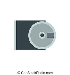 CD rom and disk icon flat style - CD rom and disk icon in...