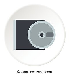 CD rom and disk icon, flat style - CD rom and disk icon....