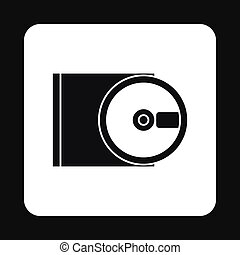 CD rom and disk icon, simple style - CD rom and disk icon in...