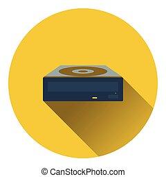 CD-ROM icon. Flat color design. Vector illustration.