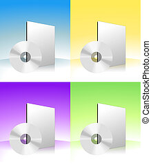 CD-ROM - The picture of cd-rom with box on gradient...