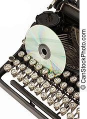 cd-rom, máquina de escribir