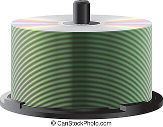 CD stack - Stack with lots of CDs on spindle