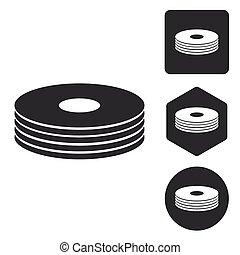 CD stack icon set, monochrome