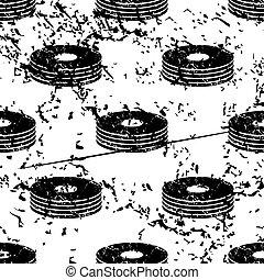 CD stack pattern, grunge, monochrome