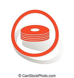CD stack sign sticker, orange