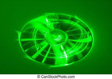 CD under green laser beam
