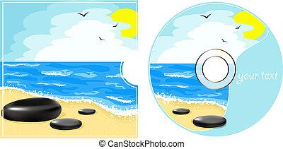 cd, vista, mar, etiqueta