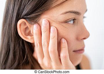cdc, reposer, main., coronavirus, frequently, infection, figure, nez, femme, bouche, mains, refrain, doigts, prévention, asiatique, yeux, hygiène, toucher, paume, directives, laver, joue