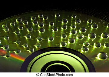 cd/dvd, abstratos, água, fundo, música, gotas