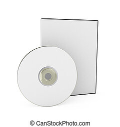 CD/DVD disk with box over white background. 3d render
