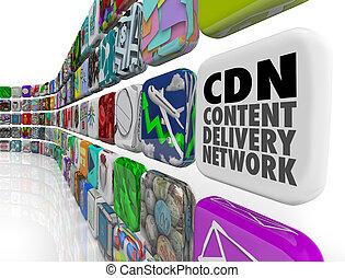 cdn, inhoud, aflevering, netwerk, app, programma, software,...