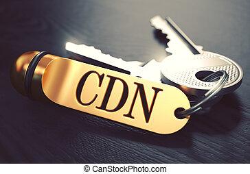 cdn, -, sleutelbos, met, tekst, op, gouden, keychain.
