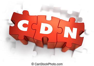 cdn, -, witte , woord, op, rood, puzzles.
