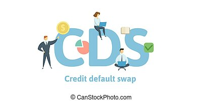 CDS, Credit Default Swap. Concept with keywords, letters and icons. Flat vector illustration. Isolated on white background.