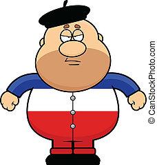 ceñudo, caricatura, frenchman