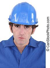 ceñudo, retrato, trabajador construcción