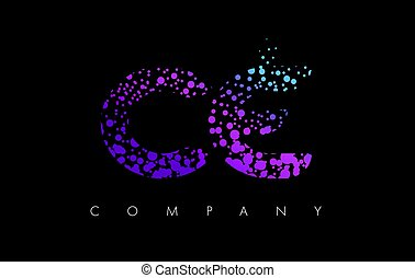 CE C E Letter Logo with Purple Particles and Bubble Dots -...
