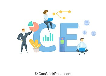 CE, Continuing Education. Concept with keywords, people and icons. Flat vector illustration. Isolated on white.