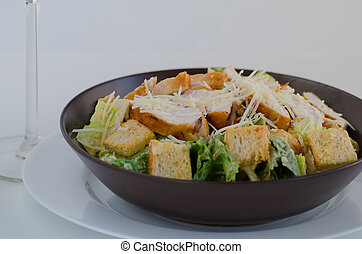 Ceasar salat with chicken, original recepy and fresch vegitable