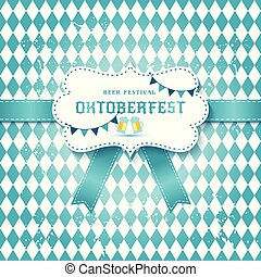 Ceative vector illustration set of labels, badges and design elements on the Oktoberfest beer festival on seamless pattern