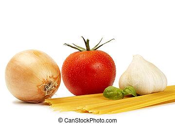 cebolla, crudo, ajo, plano de fondo, tomate, blanco, espaguetis, albahaca