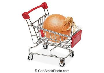 cebolla, en, el, supermercado, carrito