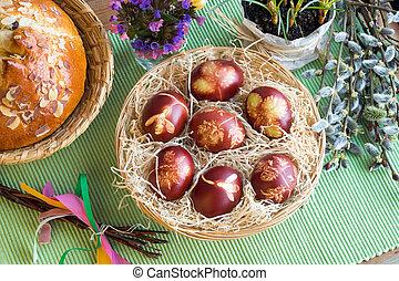 cebolla, patrón, huevos, teñido, cáscaras, hierbas, fresco,...