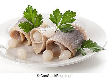 cebollas, arenques, picle, delicioso