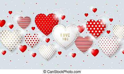 ceci, cadre, valentin, s, hearts., jour