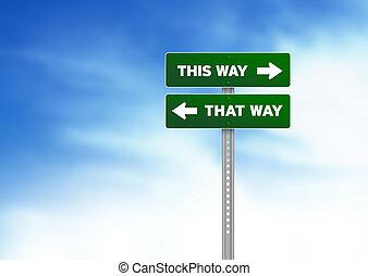 ceci, -, signe, vert, manière, manière, route