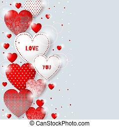 ceci, valentin, s, hearts., fond, jour