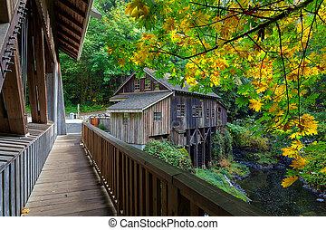 Cedar Creek Grist Mill in Washington State during Fall...