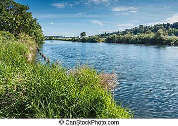 Cedar River Landscape - A view of the Cedar River as it ...