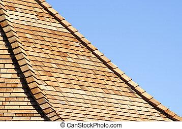 Cedar Shingles - Roof of new cedar shingles - blue sky...