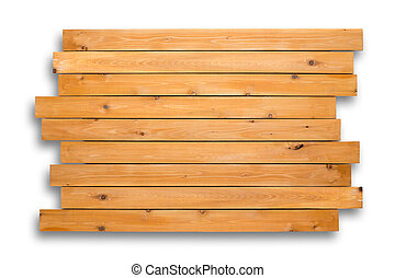 Decorative cedar wood background of staggered boards with woodgrain and knots over a white background for use as a template and copy space