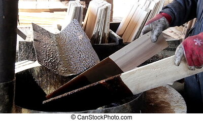 Cedar wooden shingle plywoods used to mix brown pine tar dipping cut wood on brown paint