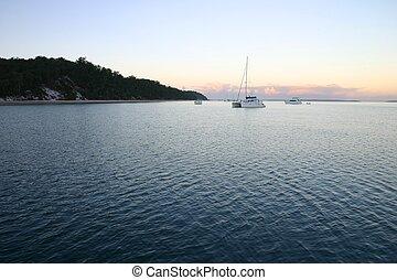 cedo, barcos, manhã