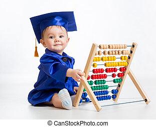 cedo, bebê, aprendizagem