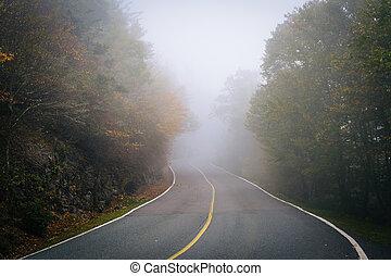 cedo, cor outono, e, nevoeiro, estrada, para, avô, montanha,...