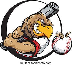 cedo, jogador, basebol, pássaro, segurando