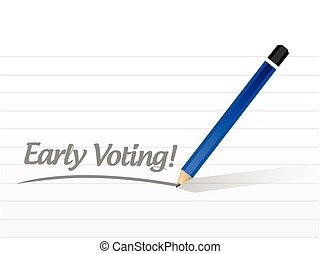 cedo, mensagem, votando, desenho, ilustração