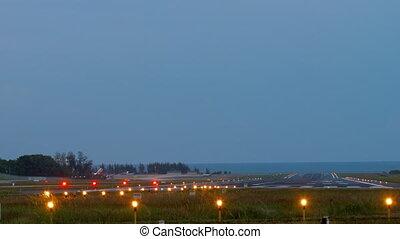 cedo, pista decolagem, mais claro, sistemas, manhã