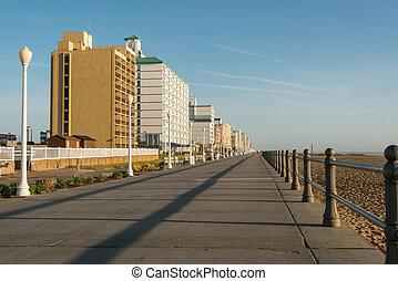 cedo, praia, virgínia, manhã