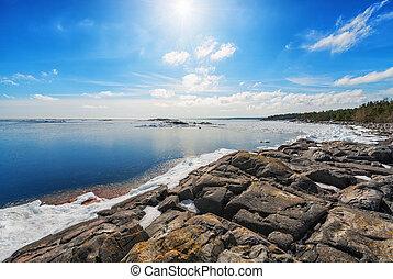 cedo, primavera, Báltico, mar, costa